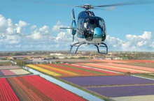 Helicopter flights above the flower fields near Keukenhof